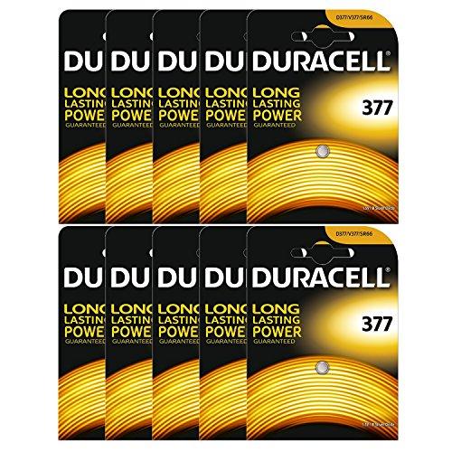 10 x Duracell 377 1,5 V zilver oxide horloge batterijen SR626SW AG4 626 D377