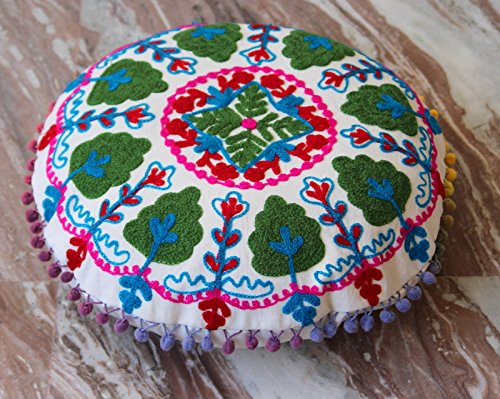 HANDICRAFTOFPINKCITY Handmade White Pouf Cover Throw Indian Hand Embroidered Cushion Cover Suzani Pillow Case 16''