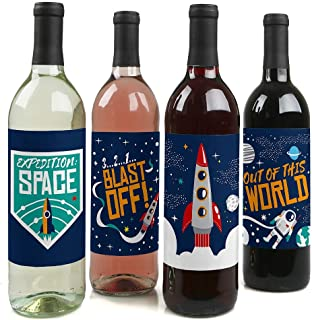 Blast Off to Outer Space - Rocket Ship Baby Shower or Birthday Party Decorations for Women and Men - Wine Bottle Label Stickers - Set of 4