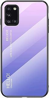 جراب EnjoyCase لهاتف Samsung Galaxy M51، جراب واقي خلفي من الزجاج المقوى 9H مع إطار من السيليكون الناعم رفيع للغاية، متدرج...