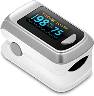 Fingertip Pulse Oximeter Blood Oxygen Saturation Monitor,Heart Rate and Fast Spo2 Reading Oxygen Meter with OLED Screen Batteries