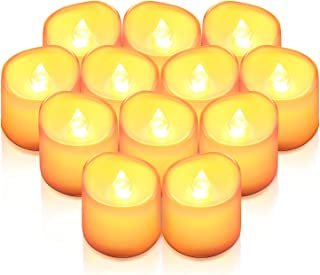 AMIR Flameless Candles, 12 PCS LED Tea Light Candles, Realistic Flickering Votive Candle Lights for Seasonal & Festival Ce...