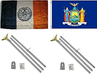 ALBATROS 3 ft x 5 ft City of New York with State of New York Flag with 2 Aluminum with Pole Kit Sets for Home and Parades, Official Party, All Weather Indoors Outdoors