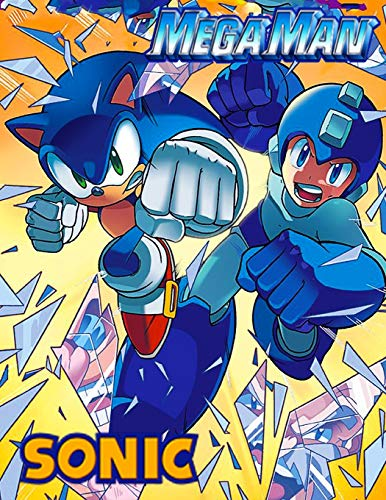 Mega Man And Sonic: Jumbo 2 in 1 Giant Coloring Book for Toddlers, Preschoolers, Kids, With 41 Great Illustrations.