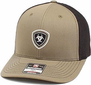 قبعة ARIAT رجالية بشعار ريتشاردسون R112 من الخلف مطرزة ومزودة بقفل كبس من الخلف بلون زيتوني