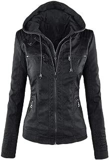 Women Stylish Zip Slim Long Sleeve Faux Leather Biker Outerwear Jacket