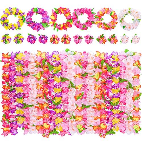 VGOODALL Leis Luau - Juego de 48 cadenas de flores hawaianas multicolor con collares y cintas para la cabeza, pulseras para fiestas hawaianas, decoración de playa
