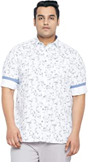 aLL Plus Size Men White Printed Casual Shirt