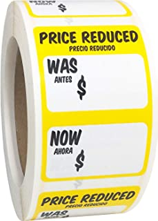 Price Reduced was Now Retail Sale Labels 2 x 3 Inch Rectangle 500 Adhesive Stickers