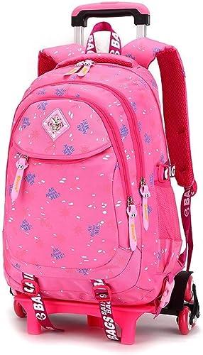Lounayy Schulranzen Schultrolley Kinderrucksack Schulrucksack Schultasche M er Abnehmbar Mode Mit Dchen Rollen (Farbe   Rosa, Größe   6R r)