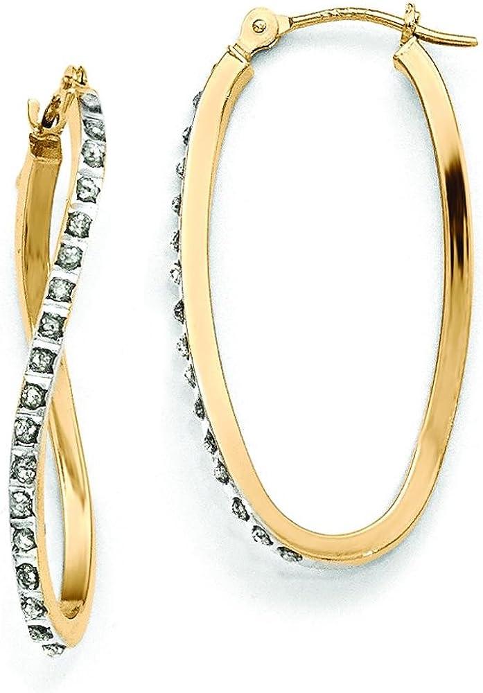 14K Gold Max 41% OFF IJ Hoop Diamond High order Earrings