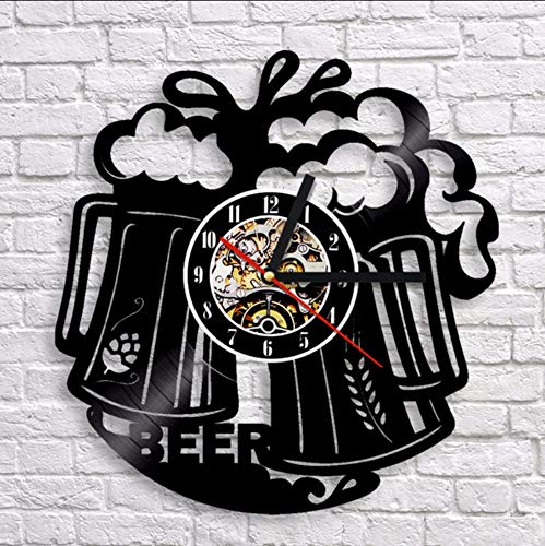jukunlun Vin Acclamations Horloge Murale Design Moderne Bar À Vin Club Horloges Creative Classique Vinyle Mur Montre À Quartz Mécanisme Art Décor À La Maison
