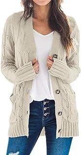 Vertvie Femme Gilet Cardigan Manche Longue Veste en Tricot Chaud avec Bouton Pull Tricoté Casual Pull Outwear Blouson Chan...