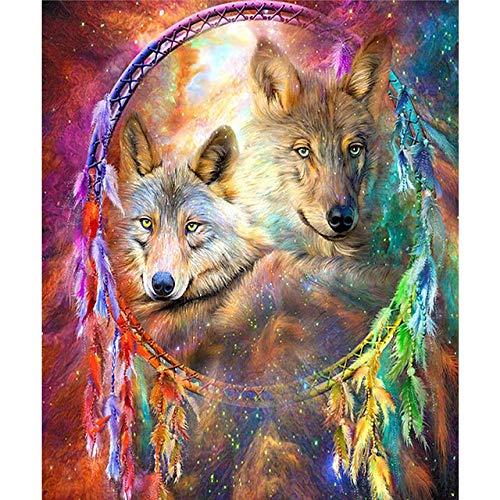 MOL Diamond Painting Full Drill Round A Wolf – bel met mozaïek – DIY, diamantschildering, kruissteek, decoratie voor huis 45x60cm/18x24in