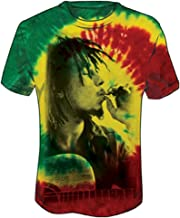 Bob Marley Side Profile Smoke Rasta Tie-Dye T-Shirt