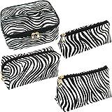 SUBANG 4 Pack Zebra Makeup Bag Toiletry Bag Travel Bag Portable Cosmetic Bag Makeup Brushes BagWaterproof Organizer Bag for Women Girls Men