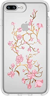 Speck iPhone 8 Plus Presidio Clear + Print Case, IMPACTIUM 8-Foot Drop Protected iPhone Case that Resists UV Yellowing, Golden Blossoms Pink/Clear