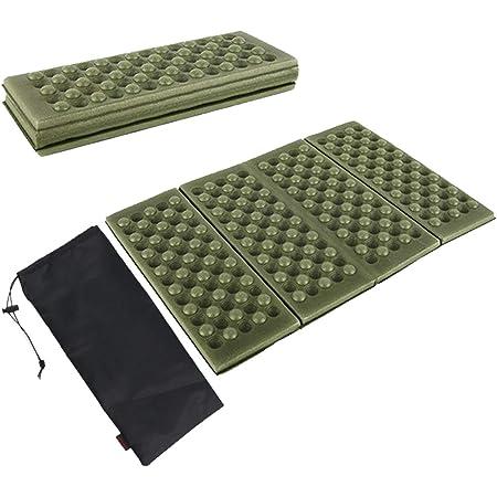 HIRAISM サウナマット 折りたたみ クッション 防水 断熱 アウトドア キャンプ 4つ折り 軽量 3枚セット 収納袋付き (グリーン)