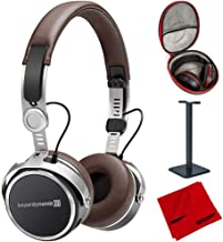 beyerdynamic Aventho Wireless Bluetooth On-Ear Headphones Brown (717851) with Full Size Headphone Case, Headphone Stand & Microfiber Cleaning Cloth