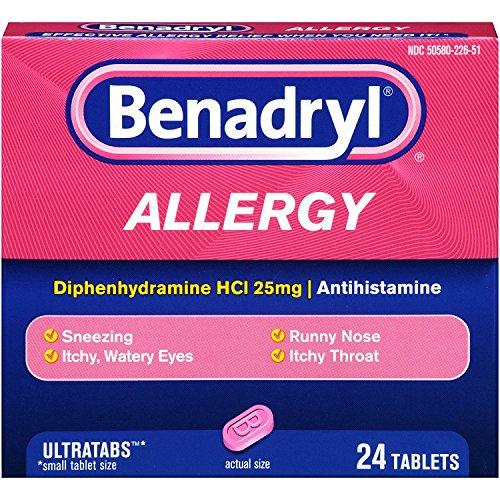 Benadryl Ultratabs Antihistamine Allergy Relief Tablets, Diphenhydramine HCl 25mg, 24 ct