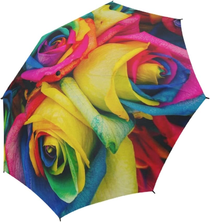 YUMOING Roses Max 67% OFF Colored Cheap mail order specialty store Tinted Artificial Unique Colorful Umbrella