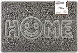 Nicoman Home - Felpudo con Forma de Cara Sonriente (Uso Interior o Exterior Protegido), diseño de Espagueti, Color Gris, Grande (90 x 60 cm)
