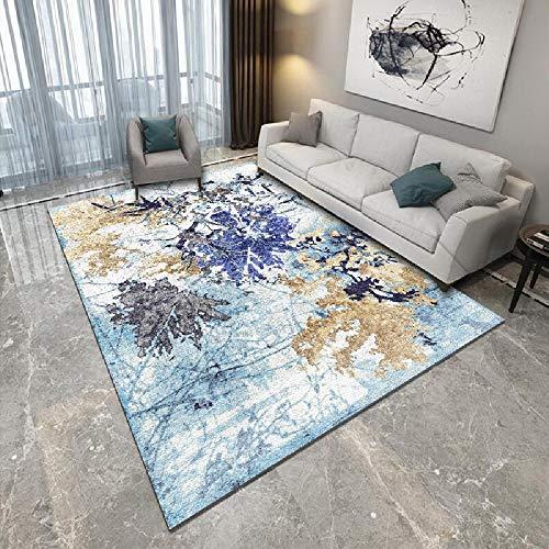 Alfombra alfombras Infantiles Lavables Alfombra Suave con diseño de Tinta Azul y Amarilla fácil de Limpiar decoración para Dormitorio de bebé articulos de Cocina 120*170CM