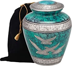 Divinityurns Elite Cloud Cremation Urn - Large Adult Urn - Urn for Ashes - Handcrafted Affordable Urn for Human Ashes with Velvet Bag (Teal Flying Bird)