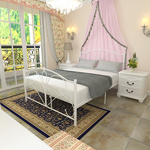 WEIBO 4FT6 Modern Stylish Double Metal Bed Frame with Medieval Ironwork White Iron Bedstead for Kids Adult Bedroom