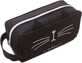 Cat Kitty Zipper Pens Pencil Case Organizer Bag Winzik Funny Silicone Pencil Pouch Box (B)