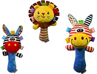 SKEIDO 3pcs/set Soft Baby Kid Toy Ring Bell BB Baby Plush Rattle Squeaker Early Educational Doll Rod Cute Cartoon Animal M...