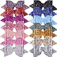 SIQUK 14 Pieces Glitter Hair Bows 5 Inch Hair Bow Boutique Hair Clips Multi Color Sequins Big Hair Bows For Baby Girls Teens Toddlers (Bonus:1 Storage Bag)