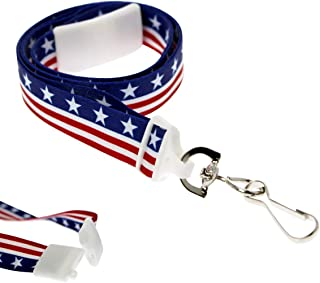 2 Pack - American Flag Lanyard for ID Badges & Keys - Patriotic USA Lanyards for Fourth of July Supplies - Red White & Blue Stars & Stripes - Soft Fabric Safety Breakaway Clasp by Specialist ID