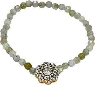 Labradorite Beaded Stretch Bracelet CZ Flower Charm Rose Gold Tone Finish .925 Silver