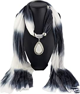 YOUSIKE Gradient Color Water Drop Pendant Scarves, Chiffon Necklace Jewelry Neck Shawl For Women Female Girls