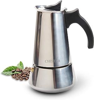 CHISTAR 300ml Cafetière Italienne Induction en INOX Moka Pot - 6 Tasses