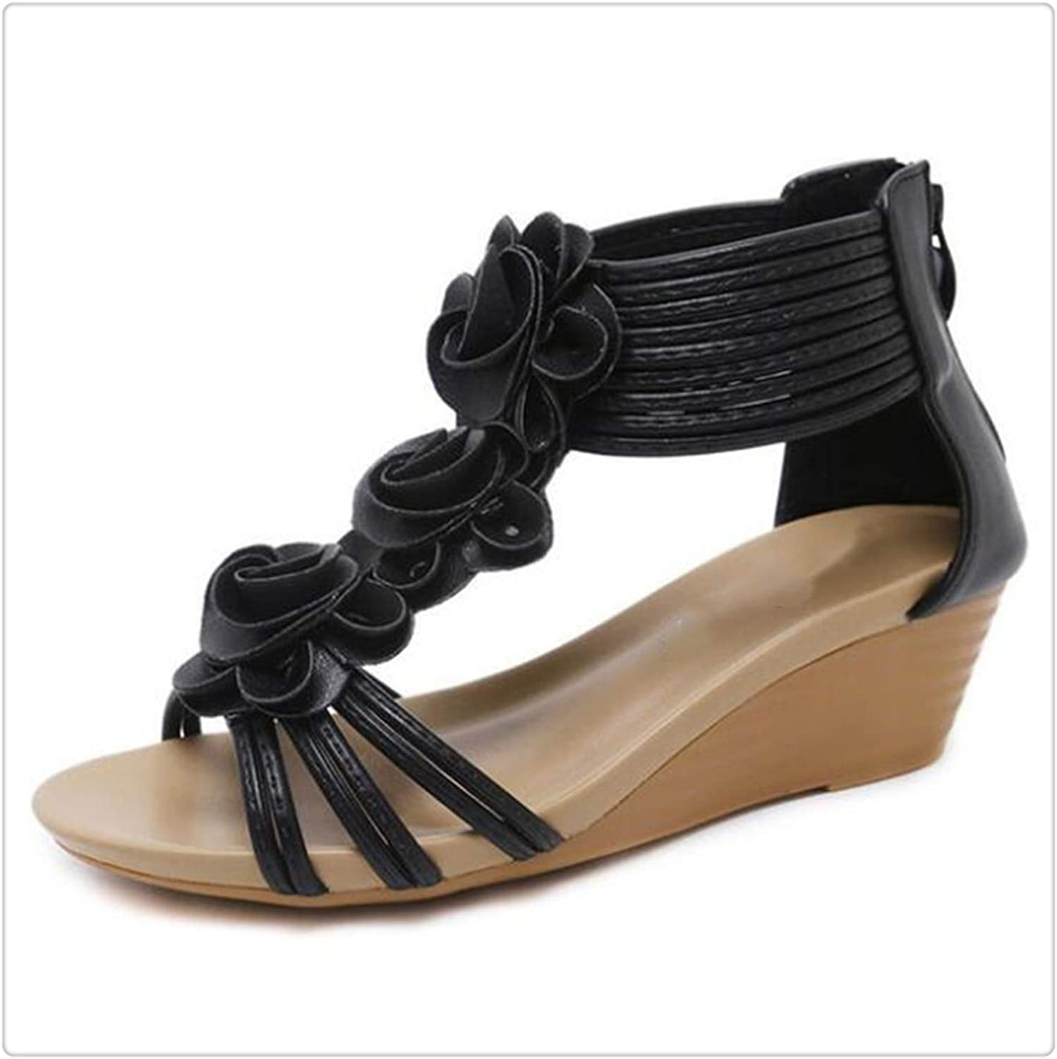 ANGERT& Flower Women Sandals Large Size PU Leather shoes Non-Slip Wedges