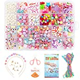 Wonnell Bricolaje Conjunto de Cuentas, 450PCS 24 Tipos de Collar de Pulsera de Bricolaje para Niños Alfanumérico Kit de Joyería de Cuentas de Flores, Adecuado para Niños de 6, 7 y 8 Años