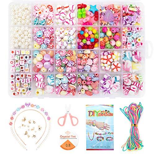 Perline Fai da Te per Bambini Set, Kit Per la Creazione di Gioielli, Utilizzato Per Gioielli Fai-Da-Te Per Bambini Che Fanno Gioielli Strumento di Creazione di Braccialetti di Collana di Perle