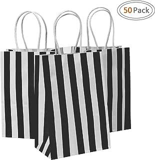 Road 5.25x3.25x8 Inches 50pcs Black Stripes Kraft Paper Bags, Retail bag, Merchandise Bag, Gift Bag, Party Bag