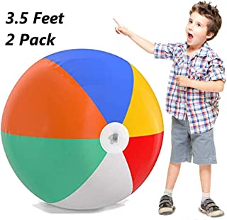 Top Race Giant Inflatable Beach Balls 3.5 Feet Tall (44 inch) Pool Ball, Beach Summer Parties, and Gifts   2 Pack Blow up Rainbow Color Beach Ball (2 Balls)