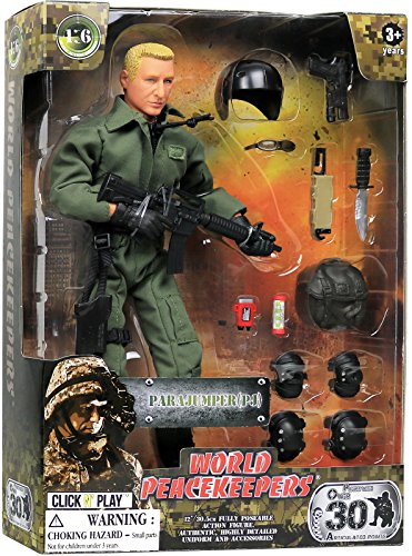 """Click N' Play Military Parajumper PJ Swat Team 12"""" Action Figure Play Set with Accessories"""
