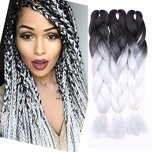 3 extension per capelli acconciate a treccia in capelli sintetici Kanekalon effetto ombrè, 300 g, 61 cm