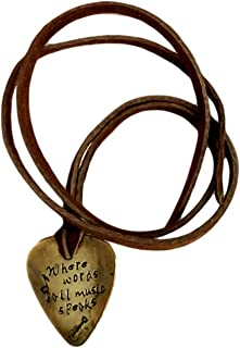 Guitar Pick - Where Words Fail Music Speaks Guitar and Notes Hand Stamped Necklace Leather BFF Gift