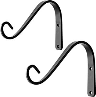 VEEBOOD 6-Inch Outdoor Decorative Metal Lantern Wall Hooks for Hanging Small Plant Pots (Black, Pack of 2)