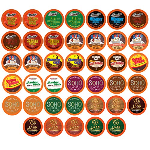 TWO RIVERS COFFEE Chocolate Pods, Single Serve Variety Sampler Pack Compatible with 2.0 Keurig K-Cup Brewers, Assorted- Hot, Cocoa, 40 Count (Pack of 1)