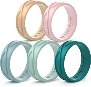 Silicone Wedding Ring/Band Men Women 4 5 Rings Pack- Designed Silicone Rubber Rings - Comfortable Durable Wedding Ring Replacement - Matching Sets - U.S Design Patent