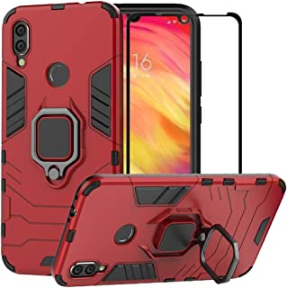 M&J Xiaomi Redmi 7 Case, Hybrid Heavy Duty Protection Shockproof Defender Kickstand Armor Case Cover Tempered (Red)