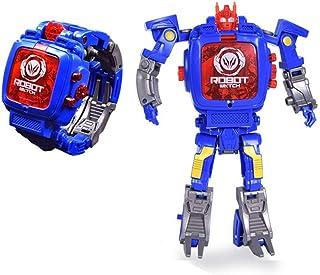 Joeyan Creative Robot Transformer Kids Watch,Big Face Boys Digital Wrist Watches for 2-14 Year Old,Blue