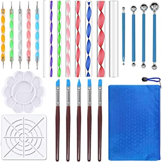 EuTengHao 25Pcs Dotting Painting Tools with Mandala Set Pen Dotting with Mandala Stencil Kit Ball Stylus Clay Sculpting Carving Tools for Clay Pottery Craft,Painting Rocks,Coloring,Art Drawing